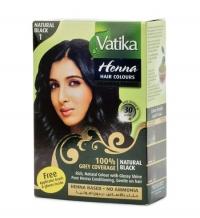 Хна для окраски волос Vatika Henna Natural Black (черная), 6 пакетиков.
