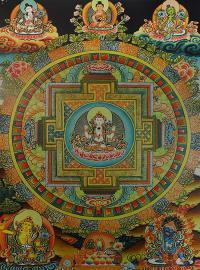 Плакат Мандала Четырехрукого Авалокитешвары (29 x 36 см).
