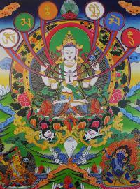 Плакат Авалокитешвара Четырехрукий и мантра ОМ МА НИ ПАД МЕ ХУМ (29 x 36 см).