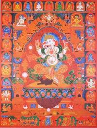 Плакат Ганеша в окружении божеств (30 x 40 см).