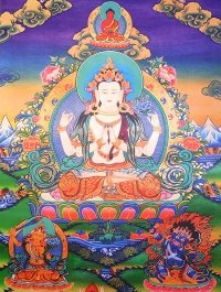 Плакат Авалокитешвара Четырехрукий (30 x 40 см).