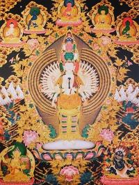 Плакат Авалокитешвара Тысячерукий (чёрно-желтый фон, 30 x 40 см).