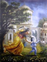 Плакат Яшода с маленьким Кришной (30 x 40 см).