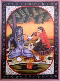 Плакат Шива и Парвати у костра (30 x 40 см).