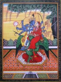 Плакат Вишну и Лакшми (30 x 40 см).