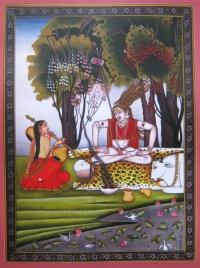 Плакат Шива и Парвати (красная нарисованная рамка, 30 x 40 см).