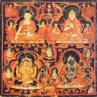 Плакат Будда Шакьямуни, Лама Цонкапа, Авалокитешвара, Зеленая Тара (30 х 30 см).