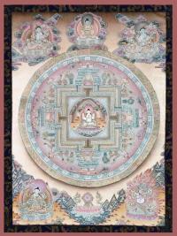 Плакат Мандала Авалокитешвары (красно-черная нарисованная рамка, 30 x 40 см).