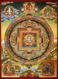 Плакат Мандала Авалокитешвары (бордовая нарисованная рамка, 30 x 40 см).