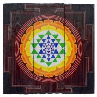 Изображение на досках Шри-янтра (Желтый лотос), 36 x 36 x 4 см.