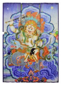 Изображение на досках Белый Дзамбала (28 x 40 x 4 см).