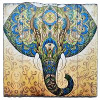 Изображение на досках Слон (43 x 43 x 4 см).