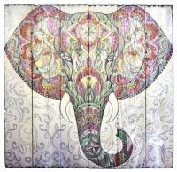 Изображение на досках Слон (55 x 57 x 4 см).