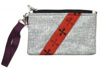 Сумочка-кошелек на молнии серая (13,5 x 20,5 см).