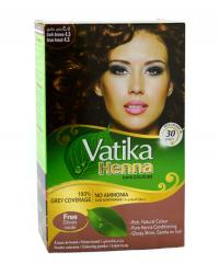 Хна для окраски волос Vatika Henna Natural Dark Brown (темно-коричневая), 6 пакетиков.