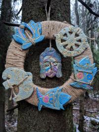 """Настенное украшение """"Будда и символы"""" (серо-синие фигуры)."""