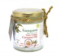 Масло кокосовое Sangam Herbals Extra Virgin, первого холодного отжима, нерафинированное, в стеклянной банке, 150 мл.