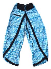 Штаны али-баба со слонами и разрезами, голубые.