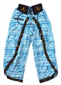 Штаны али-баба со слонами и разрезами, голубые (с вышивкой).