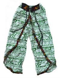 Штаны али-баба со слонами и разрезами, зеленые (с вышивкой).