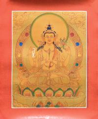 Тханка рисованная Авалокитешвара (29,5 х 36 см) (с использованием золота).