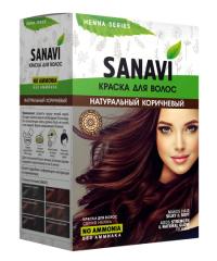 Краска для волос Sanavi, тон Натуральный Коричневый, 75 г.