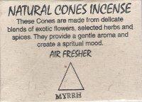Купить Natural Cones Incense Myrrh (Натуральное конусное благовоние Мирра), 25 конусов по 3 см в интернет-магазине Ариаварта