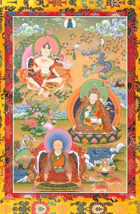 Открытка Гуру Гараб Дорже, Гуру Падмасамбхава и Чогьял Намкай Норбу (18,5 х 28,5 см).