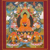 Открытка Будда, Майтрейя и Манжушри (20 х 20 см).
