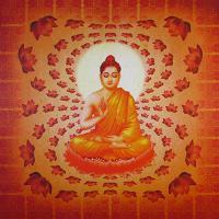 Плакат Будда в лотосах (30 x 30 см).