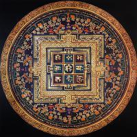 Плакат Мандала с мантрой в квадрате (30 х 30 см).