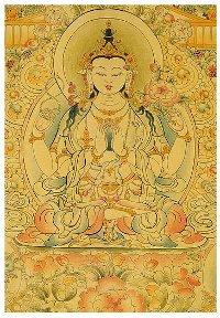 Открытка Авалокитешвара Четырехрукий (7 x 10 см).