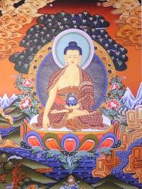 Плакат Будда Шакьямуни с бхумиспарша-мудрой (30 x 40 см).
