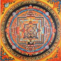Плакат Мандала Калачакры (желто-оранжевая, 30 x 30 см).
