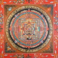 Плакат Мандала Калачакры (оранжевая, 30 x 30 см).