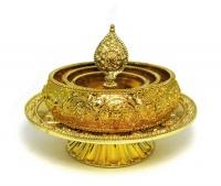 Набор для подношения мандалы с блюдом (золотистый, чаша 12,5 см, блюдо 15,8 см).