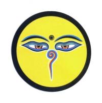 """Наклейка """"Глаза Будды"""", желтый фон, 7 см."""