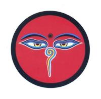 """Наклейка """"Глаза Будды"""", красный фон, 7 см."""