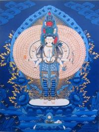 Плакат Авалокитешвара Тысячерукий (синий фон, 30 x 40 см).