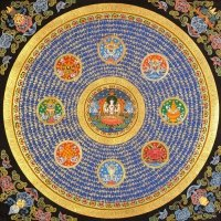 Плакат Мандала с Аштамангалой и благоприятными мантрами (30 x 30 см).