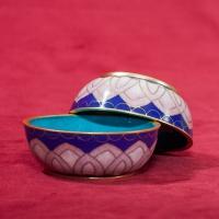 Чаши для подношений (набор из 8 шт.), 7,8 см, сине-сиреневые, металл, эмаль, Китай.