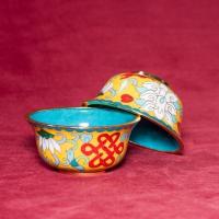 Чаши для подношений с Драгоценными Символами (набор из 8 шт.), 8 см, желтые, металл, эмаль, Китай.