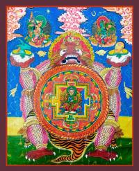 Плакат Мандала на сине-желто-зеленом фоне (30 x 37 см).