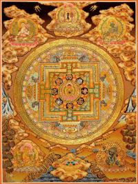 Плакат Мандала золотистая (30 x 40 см).