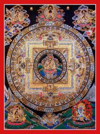 Плакат Мандала Авалокитешвары (красная нарисованная рамка, 30 x 40 см).