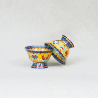 Чаши для подношений с Драгоценными Символами (набор из 8 шт.), 11 см, желтые, металл, эмаль, Китай.
