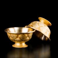 Чаши для подношений с Драгоценными Символами (набор из 7 шт.), 10,2 см, золотистые, металл, Китай.