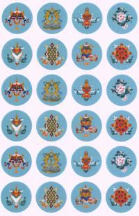 Купить Набор наклеек Восемь Драгоценных Символов (светло-синий фон, 10 x 15 см) в интернет-магазине Dharma.ru