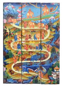 Купить Изображение на досках Этапы шаматхи (26 x 40 x 4 см) в интернет-магазине Dharma.ru