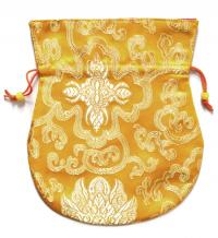 Купить Мешочек для четок (желтый с узором), 16,5 x 19,5 см в интернет-магазине Dharma.ru
